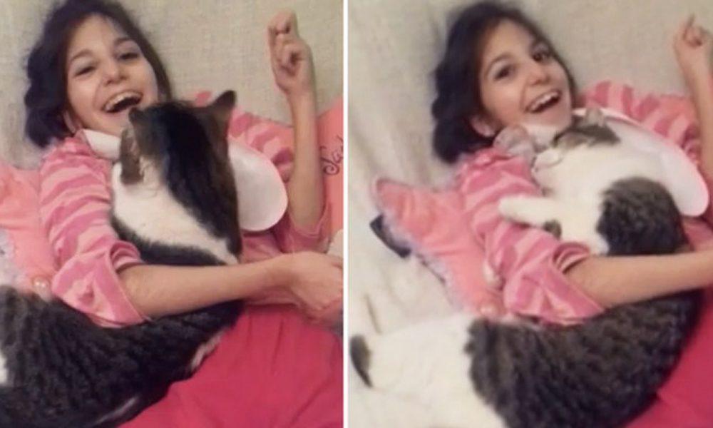Il gatto che nessuno voleva fa impazzire di gioia una ragazza speciale [VIDEO]