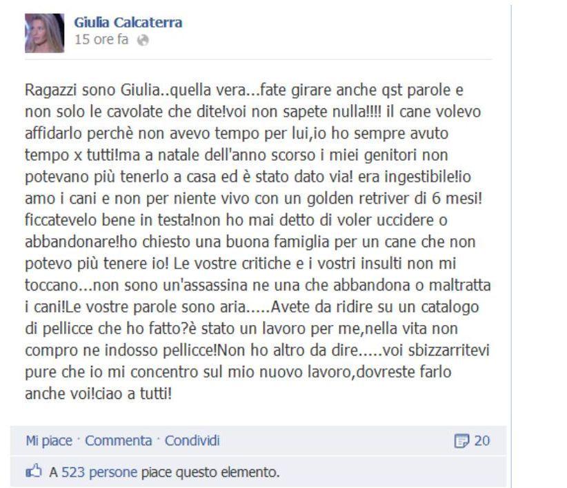 """""""Isola dei Famosi"""": Giulia Calcaterra, la scottante verità sulla morte del suo cane"""